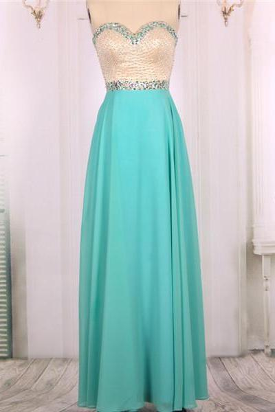 2016 New Cheap A line Sweetheart Beaded Chiffon Long Turquoise Prom Dresses Gowns, Formal Evening Dresses Gowns, Homecoming Graduation Cocktail Party Dresses Custom Plus size