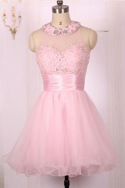 2016 New Cheap Ball Gown Open Back Short Pink Lace Prom Dresses Gowns, Formal Evening Dresses Gowns, Homecoming Graduation Cocktail Party Dresses Custom Plus size
