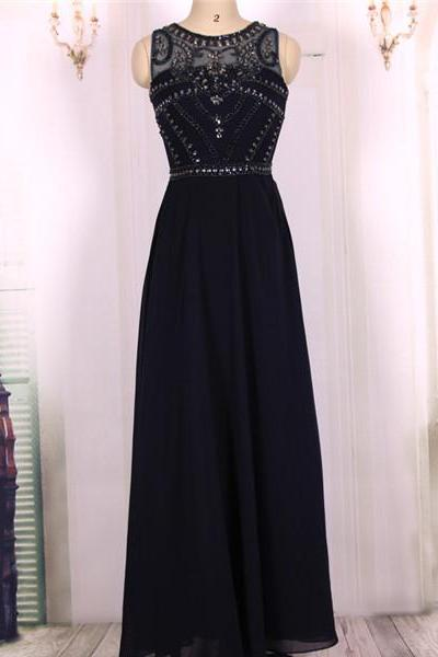 2016 Hot Sale Cheap A line Heavy Beaded Chiffon Long Navy Blue Prom Dresses Gowns, Formal Evening Dresses Gowns, Homecoming Graduation Cocktail Party Dresses Custom Plus size