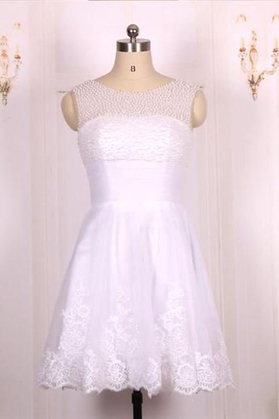 2016 New Cheap Ball Gown Pearls Beaded White Lace Short Prom Dresses Gowns, Formal Evening Dresses Gowns, Homecoming Graduation Cocktail Party Dresses,Custom Plus size