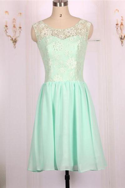 2016 New Cheap Chiffon Lace Mint Green Short Prom Dresses Gowns, Formal Evening Dresses Gowns, Homecoming Graduation Cocktail Party Dresses, Bridesmaid Dresses Custom Plus size