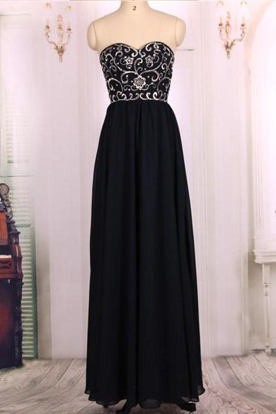 2016 New Cheap Sweetheart Embroideried Bodice Dark Navy Long Prom Dresses Gowns, Formal Evening Dresses Gowns, Homecoming Graduation Cocktail Party Dresses,Custom Plus size