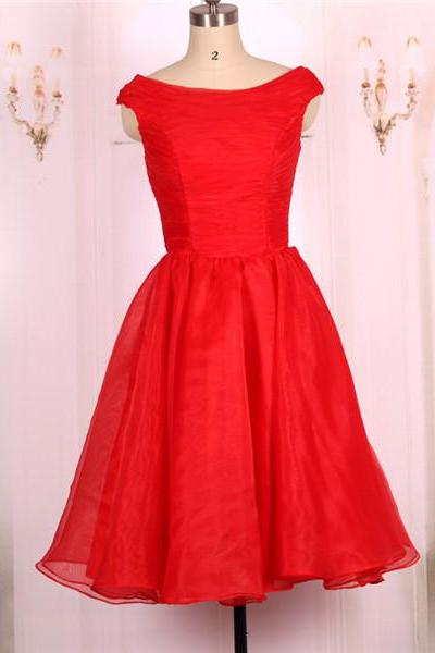 2016 New Cheap A line Ball Gown Organza Short Red Prom Dresses Gowns, Formal Evening Dresses Gowns, Homecoming Graduation Cocktail Party Dresses Custom Plus size