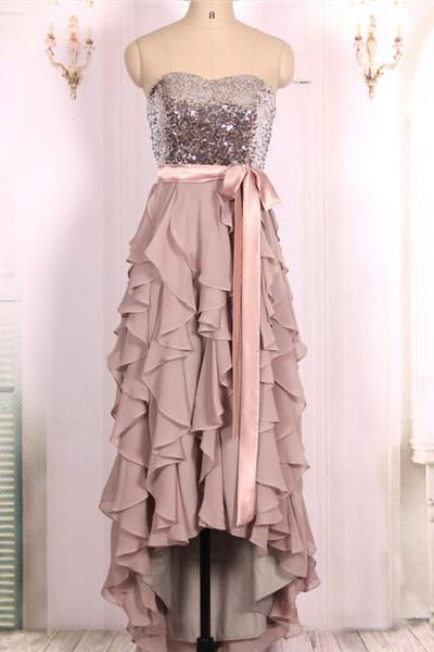 2016 New Cheap Strapless Sequins Bodice Ruffles Skirt High Low Prom Dresses Gowns, Formal Evening Dresses Gowns, Homecoming Graduation Cocktail Party Dresses,Custom Plus size