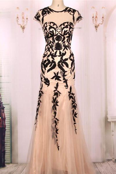 Sheer Mermaid Long Prom Dress, Evening Dress Featuring Black Lace Embroidery and Cap Sleeves