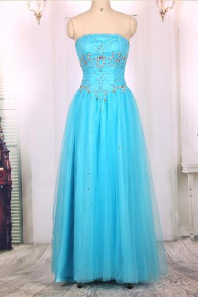 2016 New Cheap Al ine Strapless Long Beaded Tulle Light Blue Prom Dresses Gowns, Formal Evening Dresses Gowns, Homecoming Graduation Cocktail Party Dresses,Custom Plus size