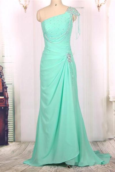 2016 New Cheap One Shoulder Beaded Chiffon Turquoise Long Mermaid Prom Dresses Gowns, Formal Evening Dresses Gowns, Homecoming Graduation Cocktail Party Dresses,Custom Plus size
