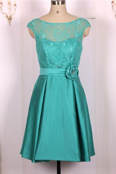 2016 New Cheap A line Ball Gown Green Short Lace Prom Dresses Gowns, Formal Evening Dresses Gowns, Homecoming Graduation Cocktail Party Dresses, Bridesmaid Dresses Custom Plus size