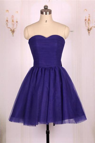 Custom Made Purple Sweetheart Neckline Tulle with Back Lace-Up Short Evening Dress, Homecoming Dress, Cocktail Dresses, Graduation Dresses