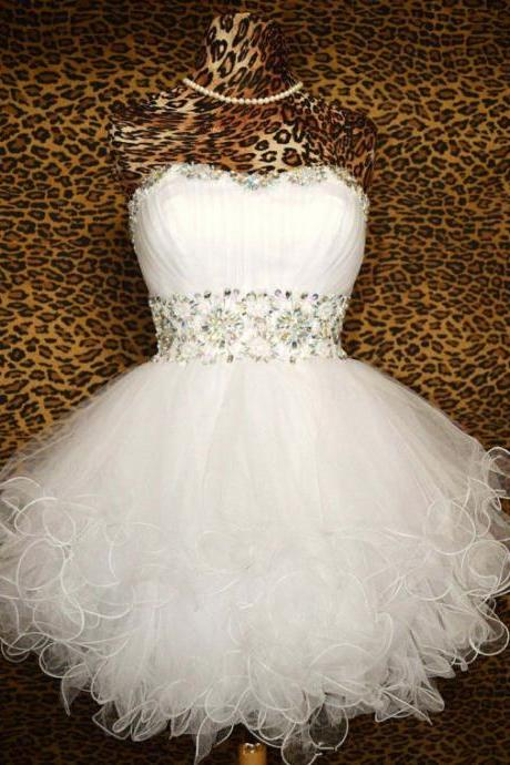 Cheap Ball Gown Sweetheart Beaded Tulle Short White Prom Dresses Gowns 2016, Formal Evening Dresses Gowns, Homecoming Graduation Cocktail Party Dresses,Custom Plus size