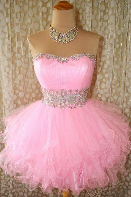 Cheap Ball Gown Sweetheart Beaded Tulle Short Pink Prom Dresses Gowns 2016, Formal Evening Dresses Gowns, Homecoming Graduation Cocktail Party Dresses,Custom Plus size