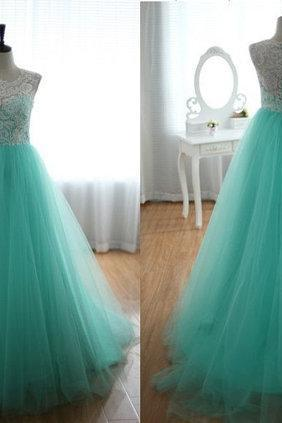2016 Cheap A line Lace Tulle Long Turquoise Prom Dresses Gowns, Formal Evening Dresses Gowns, Homecoming Graduation Cocktail Party Dresses,Custom Plus size