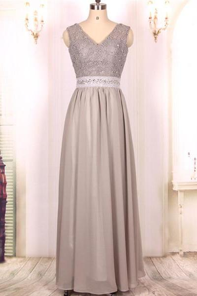 Custom Cheap A line Chiffon Lace Long Sexy Backless Silver Gray Prom Dresses Gowns 2016,Formal Evening Dresses Gowns, Homecoming Graduation Cocktail Party Dresses Plus size
