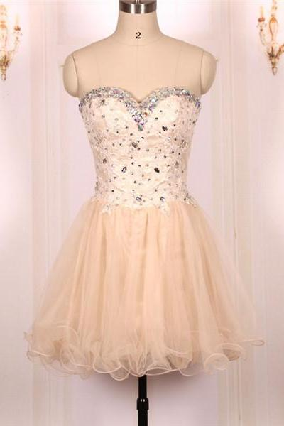 Custom Cheap Ball Gown Sweetheart Beaded Tulle Champagne Short Prom Dresses Gowns 2016,Formal Evening Dresses Gowns, Homecoming Graduation Cocktail Party Dresses Plus size