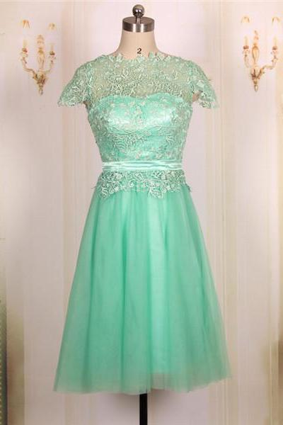Custom Cheap Ball Gown Cap Sleeves Lace Short Turquoise Prom Dresses Gowns 2016,Formal Evening Dresses Gowns, Homecoming Graduation Cocktail Party Dresses, Bridesmaid Dresses Plus size