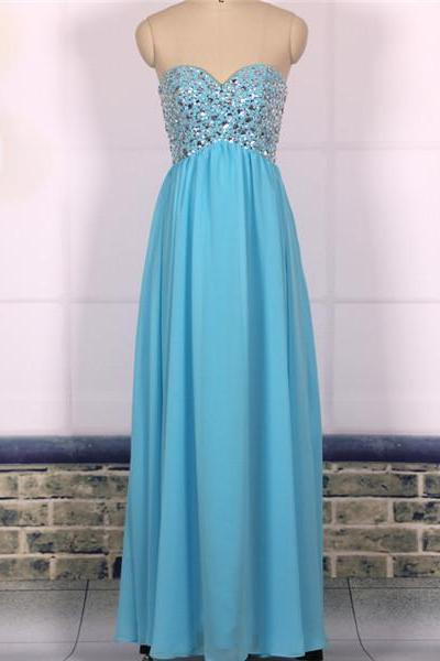 Custom Cheap A line Beaded Sweetheart Emire Waist Chiffon Long Blue Prom Dresses Gowns 2016, Formal Evening Dresses Gowns, Homecoming Graduation Cocktail Holiday Party Dresses Plus size