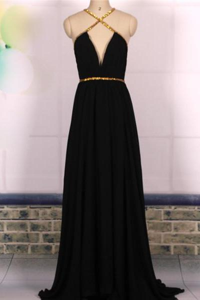 Custom Cheap A line Deep V neck Sexy Backless Chiffon Long Black Prom Dresses Gowns 2016, Formal Evening Dresses Gowns, Homecoming Graduation Cocktail Holiday Party Dresses Plus size