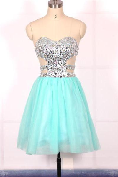 Custom Cheap Ball Gown Sweetheart Beaded Short Blue Prom Dresses Gowns 2016,Formal Evening Dresses Gowns, Homecoming Graduation Cocktail Party Dresses Plus size
