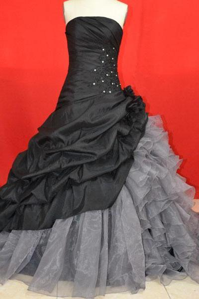 Custom Cheap Ball Gown Strapless Long Black Silver Prom Dresses Gowns 2016,Formal Evening Dresses Gowns, Homecoming Graduation Cocktail Party Dresses, Holiday Dresses, Black Wedding Dresses Plus size