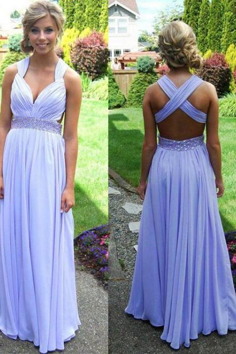 Custom Cheap A line Beaded Sash Deep V neck Crossover Back Chiffon Lavender Long Prom Dresses 2016, Formal Evening Dresses Gowns, Homecoming Graduation Cocktail Party Dresses, Holiday Dresses, Plus size