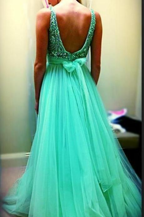 Custom Cheap A line Beaded Bling Bling Sexy Open Back Tulle Long Sage Green Prom Dresses 2016, Formal Evening Dresses Gowns, Homecoming Graduation Cocktail Party Dresses, Holiday Dresses, Plus size