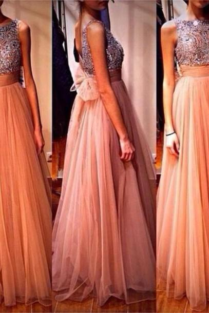 Custom Cheap A line Beaded Bling Bling Sexy Open Back Tulle Long Coral Pink Prom Dresses Gowns 2016, Formal Evening Dresses Gowns, Homecoming Graduation Cocktail Party Dresses, Holiday Dresses, Plus size