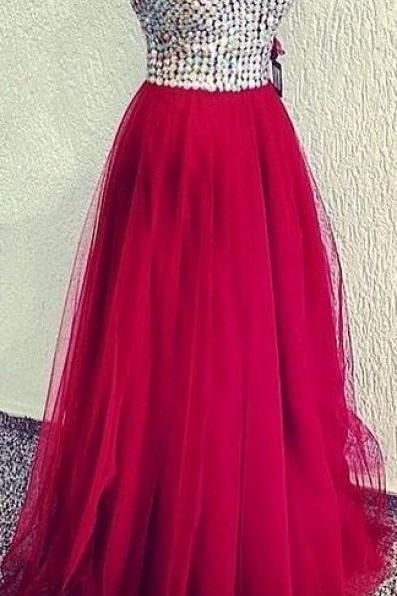 Custom Cheap Ball Gown Sweetheart Sparky Crystals Tulle Long Burgundy Wine Red Prom Dresses 2016, Formal Evening Dresses Gowns, Homecoming Graduation Cocktail Party Dresses, Holiday Dresses, Plus size