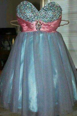 Custom Cheap Ball Gown Beaded Sweetheart Tulle Short Blue Prom Dresses Gowns 2016, Formal Evening Dresses Gowns, Homecoming Graduation Cocktail Party Dresses, Holiday Dresses, Plus size