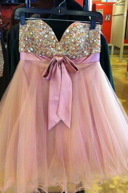 Custom Cheap Ball Gown Beaded Sweetheart Short Coral Pink Prom Dresses Gowns 2016, Formal Evening Dresses Gowns, Homecoming Graduation Cocktail Party Dresses, Holiday Dresses, Plus size