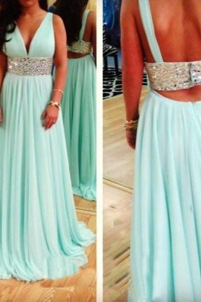 Custom Cheap A line V neck Sexy Backless Beaded Sash Mint Prom Dresses Gowns 2016, Formal Evening Dresses Gowns, Homecoming Graduation Cocktail Party Dresses, Holiday Dresses, Plus size