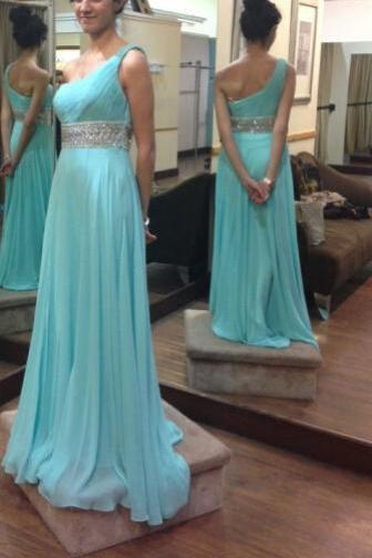 Custom Cheap A line One Shoulder Beaded Sash Long Blue Prom Dresses Gowns 2016, Formal Evening Dresses Gowns, Homecoming Graduation Cocktail Party Dresses, Holiday Dresses, Plus size