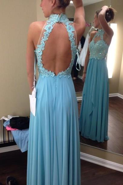 Custom Cheap A line High Neck Sexy Open Back Long Blue Lace Prom Dresses Gowns 2016, Formal Evening Dresses Gowns, Homecoming Graduation Cocktail Party Dresses, Holiday Dresses, Plus size