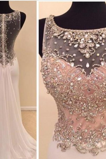 Custom Cheap Beaded Sexy Nude Back Long Ivory Prom Dresses Gowns 2016, Formal Evening Dresses Gowns, Homecoming Graduation Cocktail Party Dresses, Holiday Dresses, Plus size