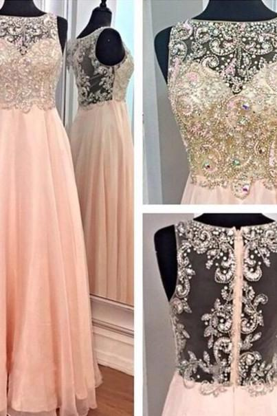 Custom Cheap Beaded Sexy Nude Back Long Coral Pink Prom Dresses Gowns 2016, Formal Evening Dresses Gowns, Homecoming Graduation Cocktail Party Dresses, Holiday Dresses, Plus size