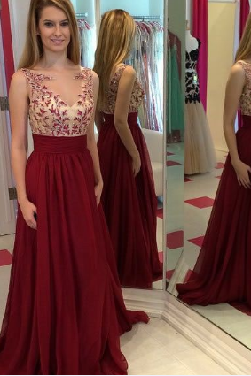 Custom Cheap Nude Bodice Lace Chiffon Long Burgundy Wine Red Prom Dresses Gowns 2016, Formal Evening Dresses Gowns, Homecoming Graduation Cocktail Party Dresses, Holiday Dresses, Plus size