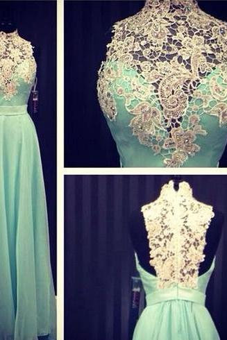Custom Cheap High Neck Long Elegant Chiffon Lace Mint Green Prom Dresses Gowns 2016 , Formal Evening Dresses Gowns, Homecoming Graduation Cocktail Party Dresses, Holiday Dresses, Plus size