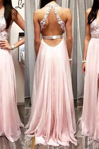 Custom Cheap V Neck Sexy Backless Long Elegant Chiffon Lace Pink Prom Dresses Gowns 2016 , Formal Evening Dresses Gowns, Homecoming Graduation Cocktail Party Dresses, Holiday Dresses, Plus size
