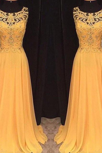 Custom Cheap Heavy Beaded Long Elegant Chiffon Yellow Prom Dresses Gowns 2016 , Formal Evening Dresses Gowns, Homecoming Graduation Cocktail Party Dresses, Holiday Dresses, Plus size