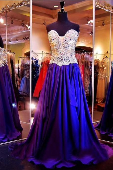 Custom Heavy Beaded Sweetheart Royal Blue Prom Dress, Long Prom Dress, Chiffon Prom Dress, Prom Dress 2017, Affordable Prom Dress, Junior Prom Dress,Formal Evening Dresses Gowns, Homecoming Graduation Cocktail Party Dresses, Holiday Dresses, Plus size