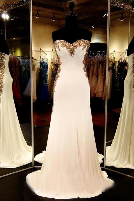 Custom Sweetheart Beaded Chiffon Light Champagne Prom Dresses, Long Mermaid Prom Dress, Cheap Prom Dress, Prom Dress 2017, Affordable Prom Dress, Junior Prom Dress,Formal Evening Dresses Gowns, Homecoming Graduation Cocktail Party Dresses, Holiday Dresses, Plus size