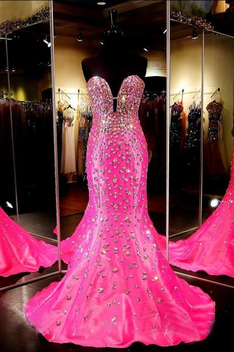 Custom Sweetheart Sparkle Satin Pink Prom Dresses, Long Mermaid Prom Dress, Cheap Prom Dress, Prom Dress 2017, Affordable Prom Dress, Junior Prom Dress,Formal Evening Dresses Gowns, Homecoming Graduation Cocktail Party Dresses, Holiday Dresses, Plus size