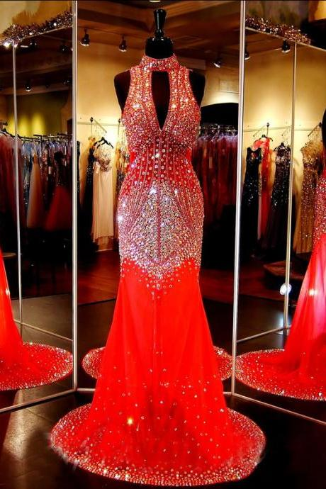 Custom Sparkle Chiffon V neck V back Beaded Chiffon Long Mermaid Red Prom Dresses, Prom Gowns, Dresses for Prom, Prom Dress 20176, Affordable Prom Dress, Junior Prom Dress,Formal Evening Dresses Gowns, Homecoming Graduation Cocktail Party Dresses, Holiday Dresses, Plus size