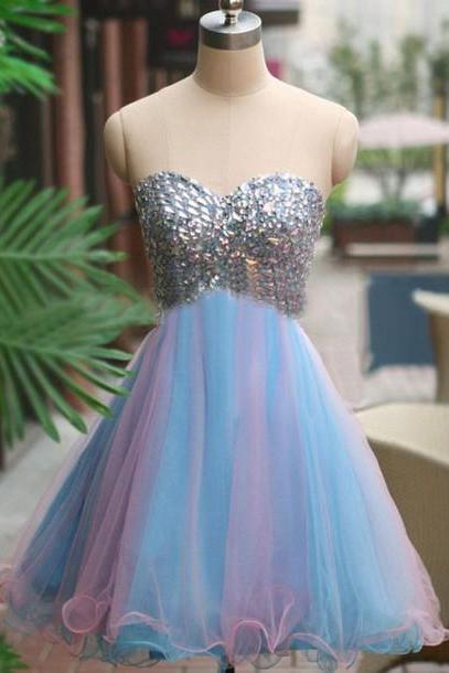 Custom Short Prom Dresses,Pink Prom Dress, Blue Prom Dress, Tulle Prom Dress.Tulle Homecoming Dress, Homecoming Dresses On Sale, Cocktail Dress, Party Dress
