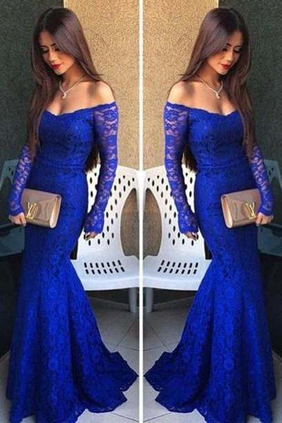 Custom Royal Blue Prom Dress, Long Sleeves Prom Dress, Mermaid Prom Dresses, Cheap Prom Dress, Lace Prom Dress,Prom Dress 2016, Affordable Prom Dress, Junior Prom Dress, Formal Evening Dresses Gowns, Party Dresses, Plus size