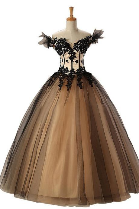 Custom Ball Gown Prom Dress, Long Prom Dresses,Black Prom Dress, Off the Shoulder Prom Dress, Prom Gowns, Formal Evening Dresses, Graduation Party Dress