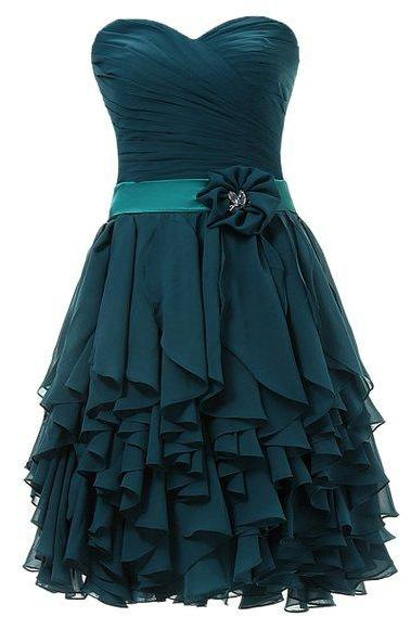 Custom Made Green Strapless Sweetheart Neckline Draped Bodice Ruffled Short Evening Dress, Homecoming Dress, Cocktail Dresses, Graduation Dresses