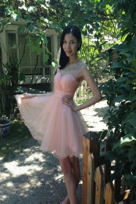 Custom Short Prom Dress,Pink Prom Dresses,Tulle Prom Dress, Homecoming Dress,Cheap Prom Gowns, Formal Dress, Pink Homecoming Dresses, Graduation Dress, Party Dress
