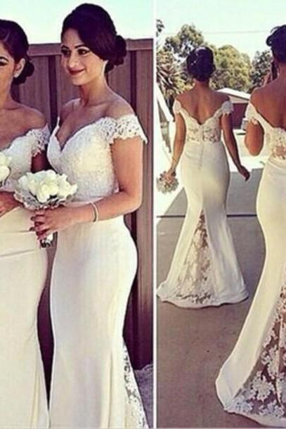 Custom Bridesmaid Dresses, Wedding Party Dresses, Lace Bridesmaid Dresses,Mermaid Prom Dress,Ivory Prom Dresses,Long Prom Dress,Formal Evening Dress, Graduation Dress, Party Dress