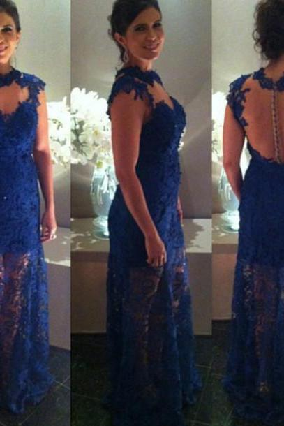 Long Prom Dress,Illusion Prom Dress, Lace Evening Dresses,Royal Blue Evening Dress, Royal Blue Prom Dress, Prom Gowns, Lace Prom Dress, Formal Dress, Homecoming Dresses, Graduation Dress, Party Dress