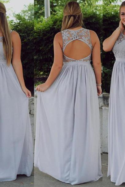 Silver Prom Dress,Long Prom Dress,Simple Prom Dress,Chiffon Prom Dress, Silver Evening Dress, Long Evening Dress, Cheap Evening Dress, Formal Dress, Homecoming Dresses, Graduation Dress, Party Dress